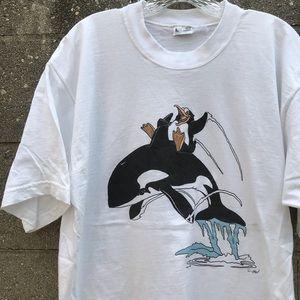 90s Cartoon Orca Whale Penguin Animal T shirt